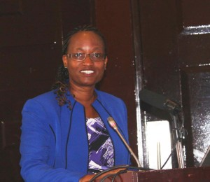 Ms. Susan Mochache, Principal Secretary for Social Security and Services (Ministry of Labour and East African Affairs) makes the keynote speech